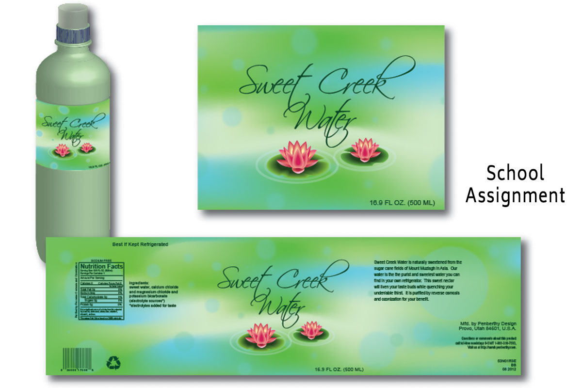 Sweet Creek Water Label Design/School Assignment